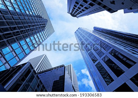 Modern office building in low angle view