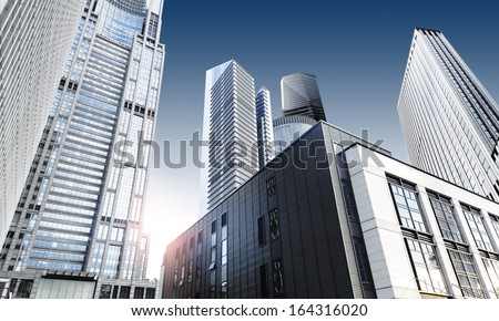 modern office building in shanghai lujiazui - stock photo