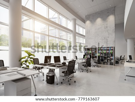 modern office building interior. 3d rendering concept
