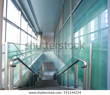 Modern office building stairway glass with windows - stock photo