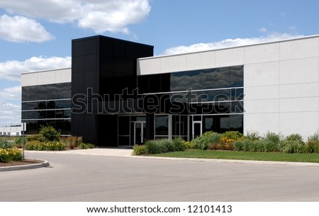 modern office building with black window front