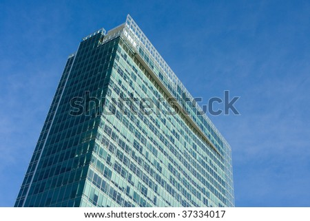Modern office building without sky reflection in windows