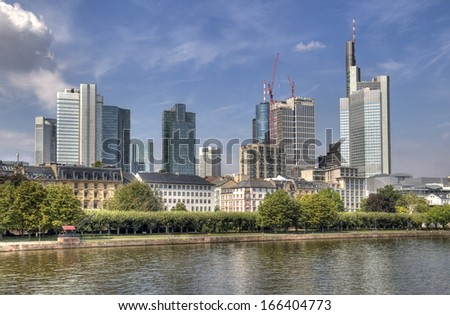 Modern office buildings along the Main river in Frankfurt, Germany