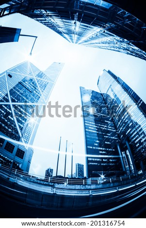 Modern office buildings in Central Hong Kong. - stock photo
