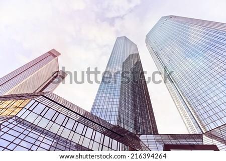 modern office buildings in Frankfurt am Main, Germany - stock photo