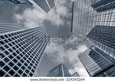Modern office buildings under sky in Hong Kong, Asia. - stock photo