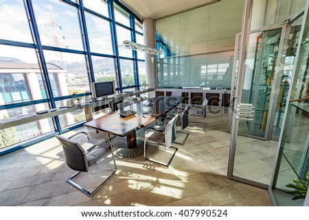 Modern Office. Business abstract. - stock photo