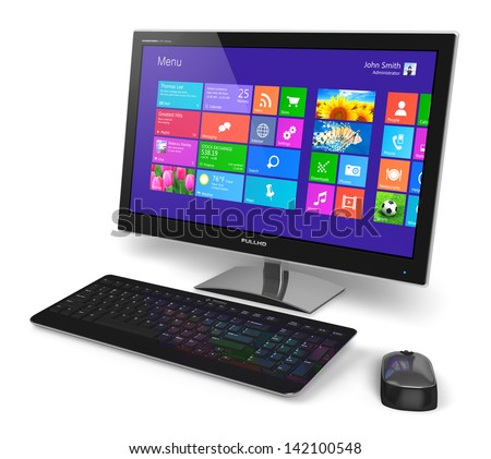 Modern office business desktop computer PC system monitor with touchscreen interface with color icons, keyboard and mouse isolated on white background - stock photo