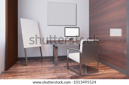 Modern office Cabinet. Meeting room. 3D rendering.. Blank paintings