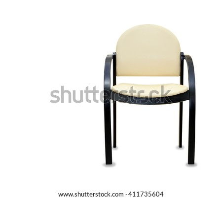 Modern office chair from beige leather. Isolated - stock photo