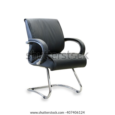 Modern office chair from black leather isolated over white - stock photo