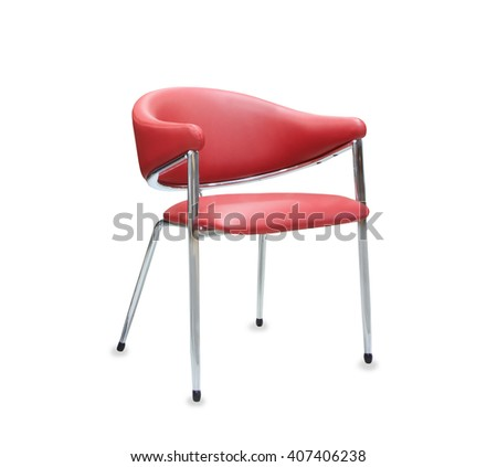 Modern office chair from red leather. Isolated - stock photo