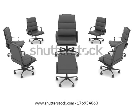 Modern office chairs on white background