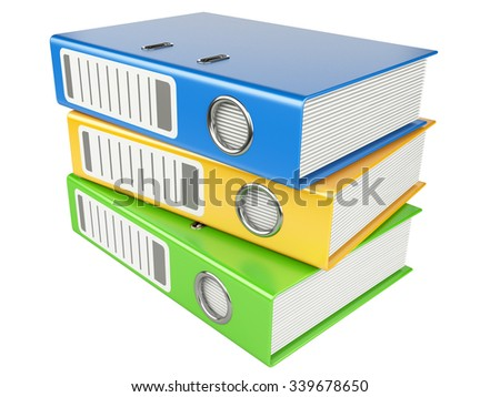 Modern office folders with documents isolated on white background - stock photo