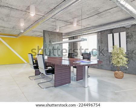 modern office interior. 3d design concept  - stock photo