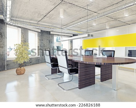 modern office interior. 3d illustration design concept  - stock photo