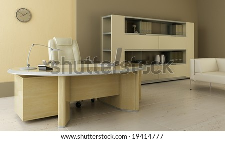 modern office interior 3d rendering - stock photo