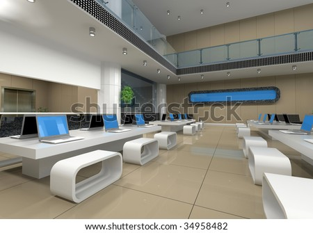 modern office interior (3D rendering)