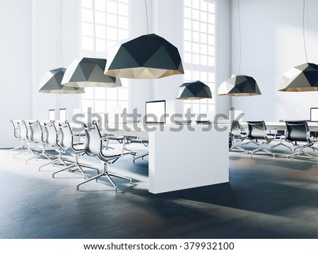 Modern office interior generic design. Loft style room. 3d rendering - stock photo