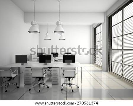 Modern office interior in white 3D rendering - stock photo
