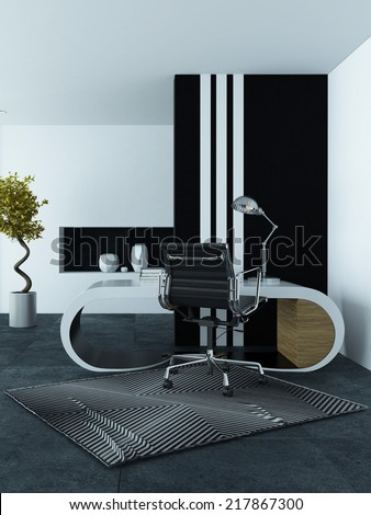 Modern office interior with a curved modular white desk, chrome swivel chair on a geometric striped carpet and striking striped cabinet in grey and white