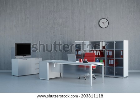Modern office interior with business desk and furniture - stock photo