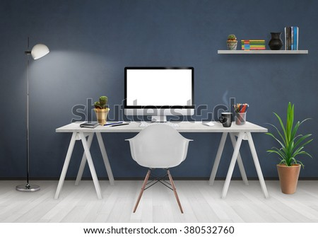 Modern office interior with computer on desk, plants, lamp, chair, shelf, books, blue wall and white floor. - stock photo