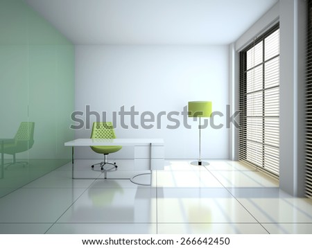 Modern office interior with glass wall 3D rendering - stock photo