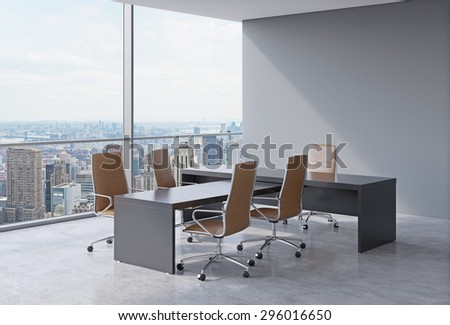 Modern office interior with huge windows and New York panoramic view. Brown leather on the chairs and a black table. A concept of CEO workplace. 3D rendering.