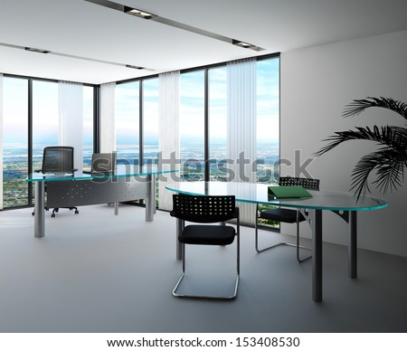 Modern office interior with huge windows with panoramic view - stock photo