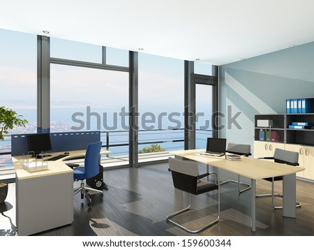 Modern office interior with spledid seascape view - stock photo