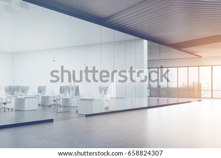 Modern office interior with white and transparent walls, panoramic windows with a magnificent cityscape. A row of white tables with computers along the wall. Side. 3d rendering mock up toned image