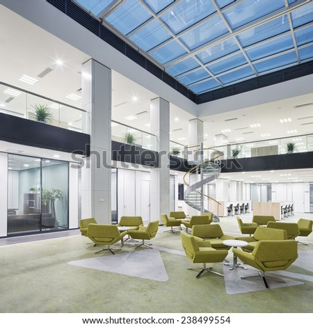modern office lobby hall interior - stock photo