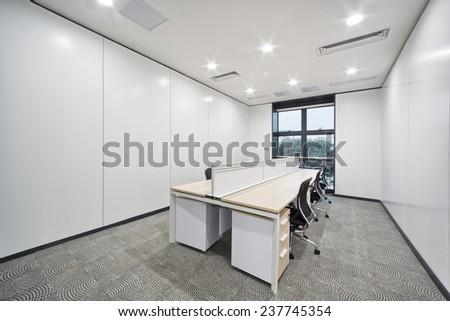 modern office room and corridor interior - stock photo