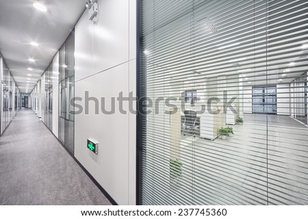 modern office room and corridor interior - stock photo