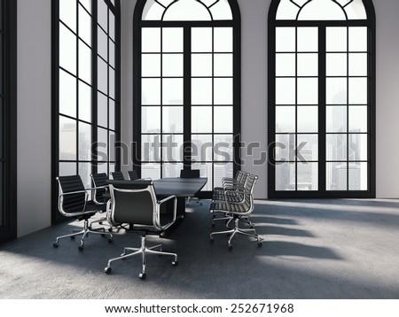Modern office room interior. 3d rendering - stock photo