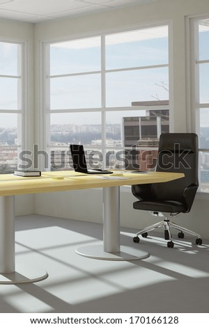 modern office room with urban skyline