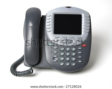 Modern office telephone front view