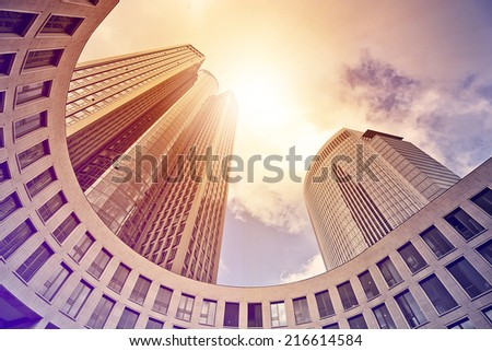 modern office tower in the sun, Frankfurt am Main, Germany - stock photo
