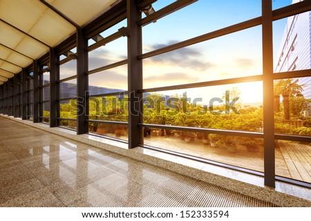 Modern office window at dusk image - stock photo