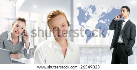 Modern office with beautiful women and handsome businessman [Photo Illustration] - stock photo