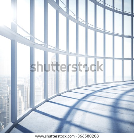 modern office with big window to city - stock photo