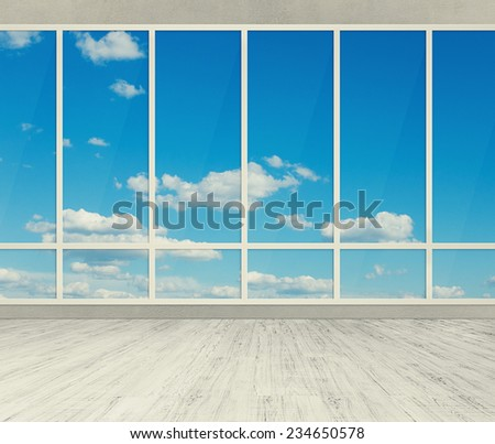 modern office with big windows - stock photo