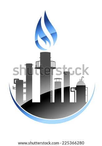 Modern oil refinery or industrial plant with tall smokestacks or chimneys with the central one emitting a burning flame - stock photo