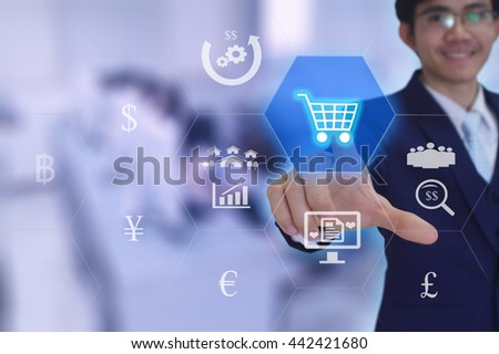 Modern online marketing & Shopping concept  presented by  businessman touching on  virtual  screen  - stock photo