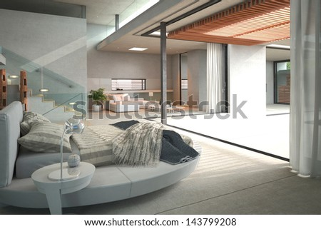 Modern open bedroom with white bed and patio view - stock photo