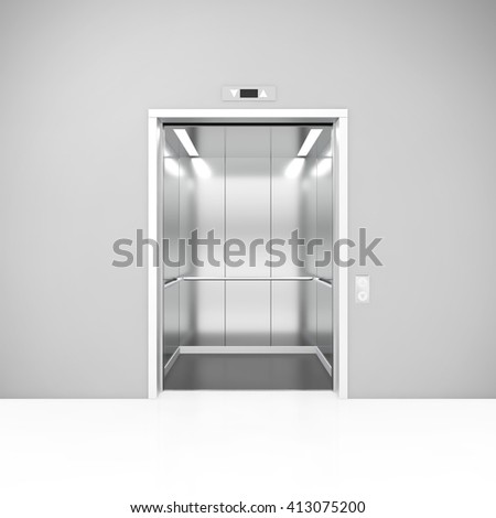 Modern open elevator with metalic door. 3D illustration - stock photo