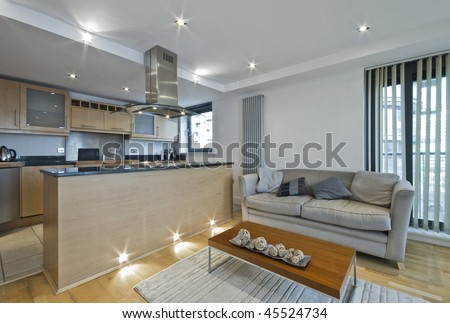 modern open plan kitchen with breakfast bar Modern Open Plan Kitchen Breakfast Bar Stock Photo 45524734