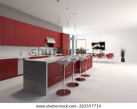 Modern open plan red kitchen interior with a long counter with bar stools and kitchen cabinets and appliances along the wall accented in red and white decor, spacious architectural background - stock photo