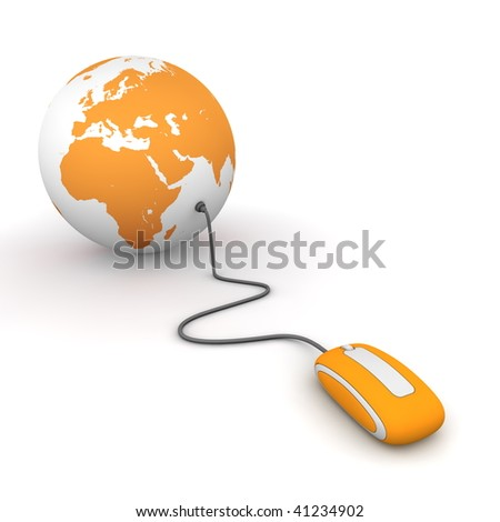 modern orange computer mouse connected to a orange globe - stock photo